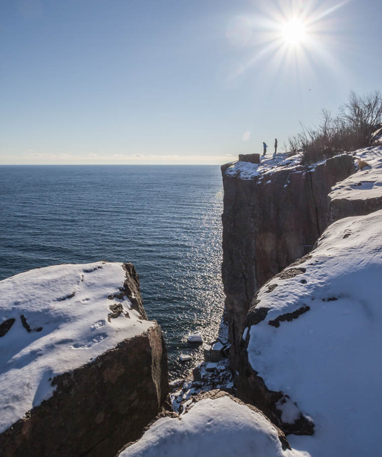 A winter hike up to Palisade Head.  Some bilion years ago, rhyolitic lava flows formed these impressive formations along Lake Superior.
